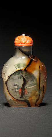An inside-painted chalcedony agate snuff bottle By Wang Xisan, circa 1960-1965 (the bottle 1760-1860)