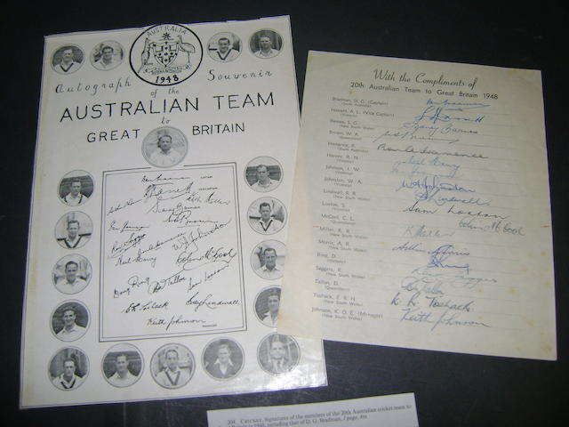 Australian cricket team 1948 hand signed sheet