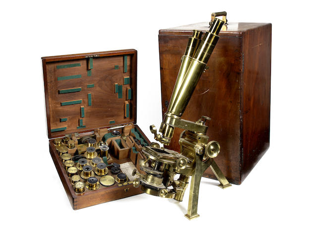 A Powell & Lealand No. 1 compound monocular microscope,  English, dated 1872,