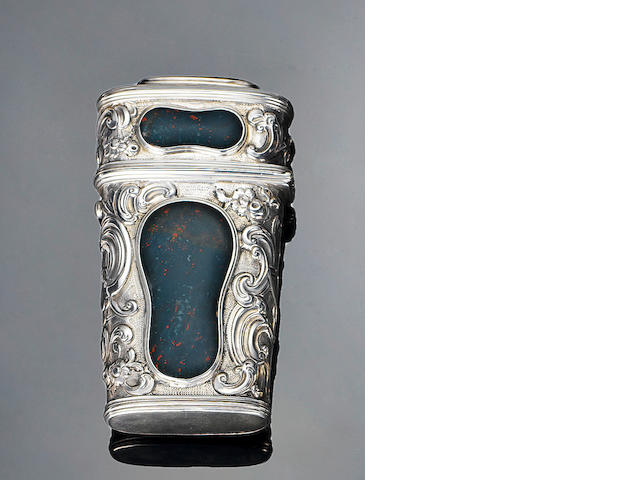 A mid-18th century silver and hardstone mounted etui,