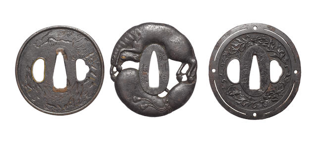 Six iron tsuba with openwork design 19th century