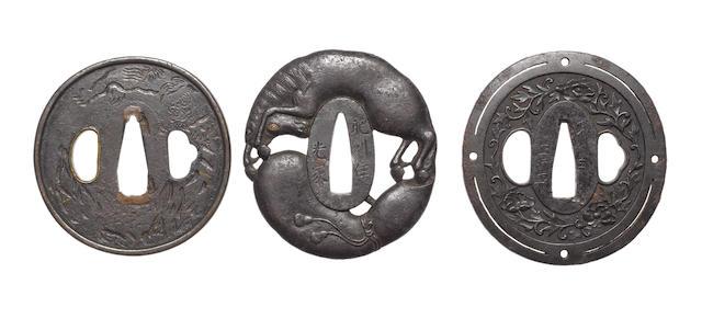 Six iron tsuba with openwork design 19th century