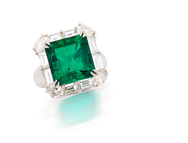 A very important emerald and diamond ring