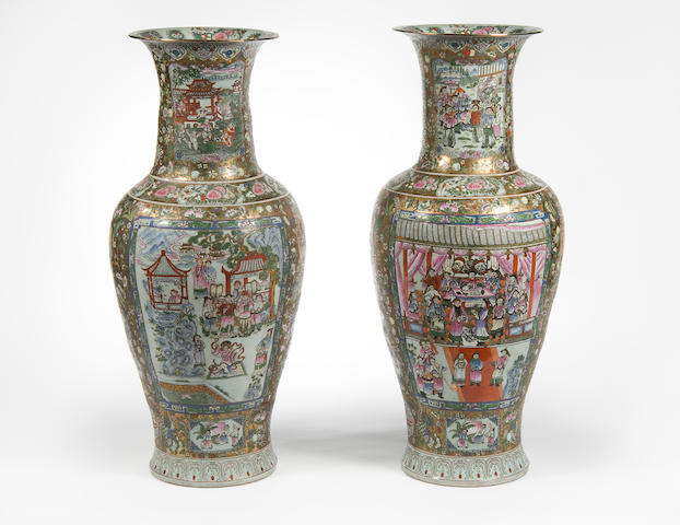 A pair of Chinese famille rose baluster floor vases 20th Century