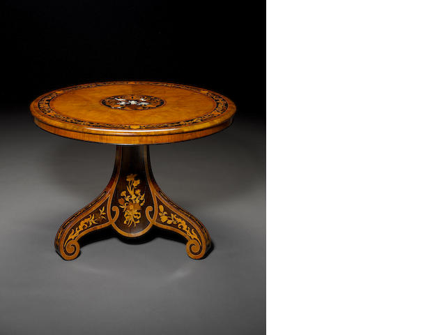 A fine early Victorian walnut, ebony, sycamore, purpleheart, ivory and harewood marquetry centre table attributed to Edward Holmes Baldock