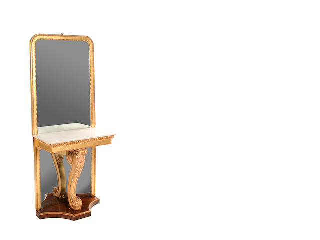 A William IV rosewood and giltwood console table and mirror en-suite