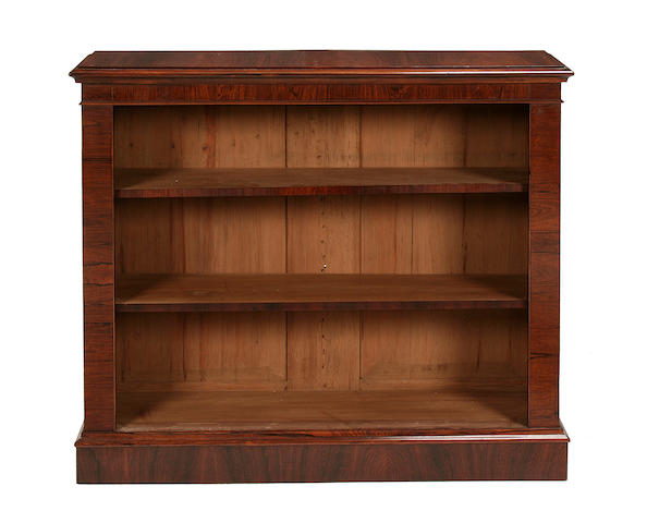 A small rosewood open bookcase