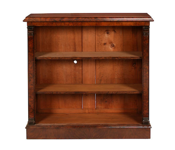 A walnut and figured walnut dwarf open bookcase