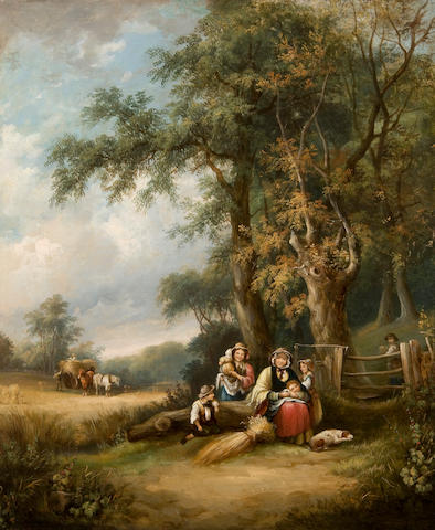 Follower of William Shayer, Snr. (British, 1787-1879) Labouring family in a pastoral landscape