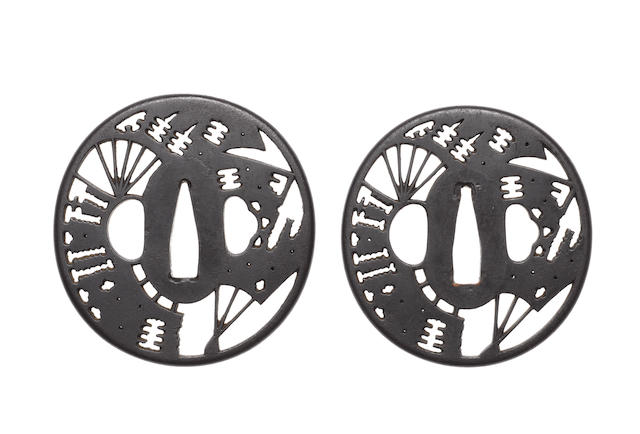 A pair of Akasaka tsuba for a daisho By Tadatoki, late 18th century