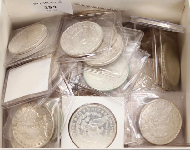 Approximately seventy five United States of America silver Dollar coins