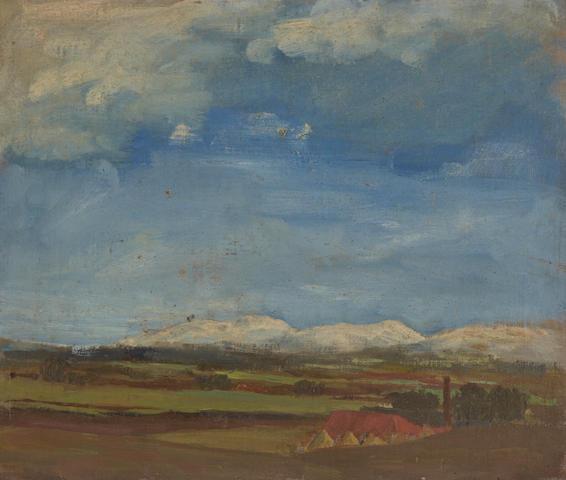 John Campbell Mitchell, RSA (British, 1862-1922) Snowy peaks, study