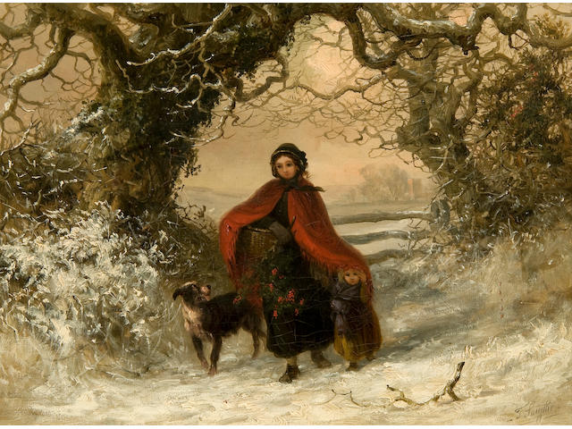 Thomas Smythe (British, 1825-1906) Gathering holly in the snow