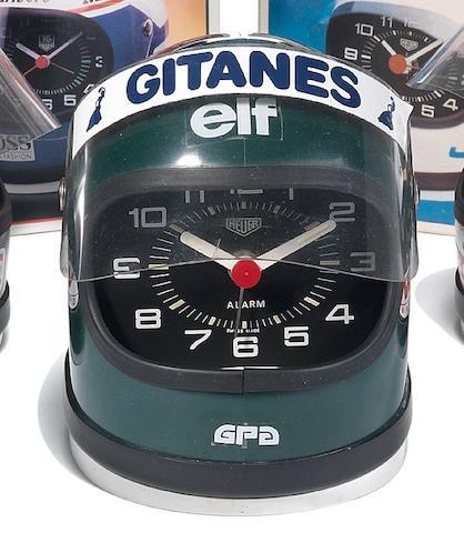 A Heuer Helmet Alarm Clock Jacques Laffite, 1970's