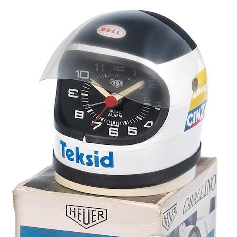 A Heuer Helmet Alarm ClockCarlos Reutemann, 1970's