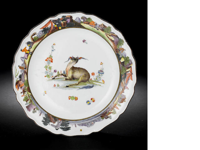 An extremely rare Meissen plate from the 'Black and Gold-Striped' service circa 1735