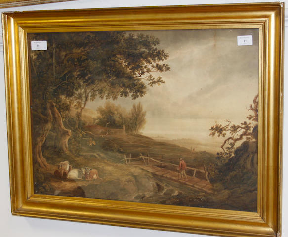 English School, early 19th Century Landscape with cattle resting and figure crossing a bridge