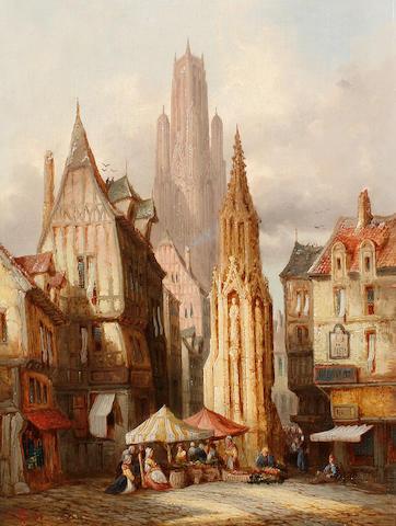 Henry Thomas Schafer, RBA (British, 1854-1915) Market scene, Evreux; Street scene, Rouen, a pair each 40.5 x 30.5cm (16 x 12in), (2).