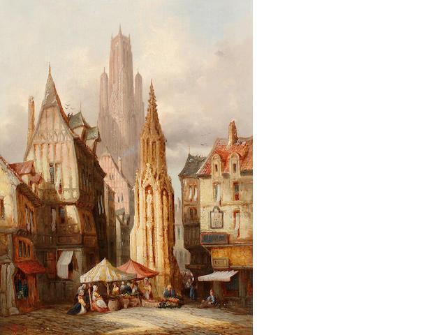 Henry Thomas Schafer, RBA (British, 1854-1915) Market scene, Evreux; Street scene, Rouen each 40.5 x 30.5cm (16 x 12in), (2).