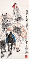 Huang Zhou (1925-1997) Girl and Donkeys