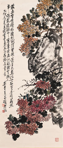 Wu Changshuo (1844-1927) Chrysanthemums and Rock