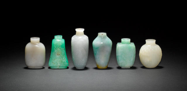 Six stone, or other, Chinese snuff bottles of various shape and hue