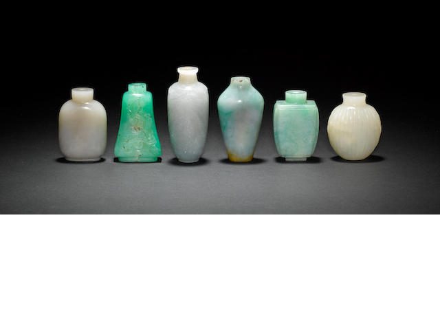 Six jade and jadeite snuff bottles