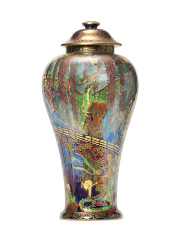 A very large Wedgwood Fairyland Lustre vase (cracks to cover)