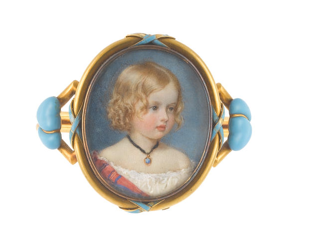 Sir William Charles Ross (British, 1794-1860) The Hon. Mary Stuart (b.1845), as a young girl, wearing white dress, tartan shawl, gold and blue enamel pendant on a black cord, her blonde hair in ringlets