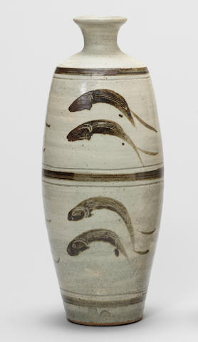 Bernard Leach  A Large Vase with 'Leaping Fish' design, circa 1965