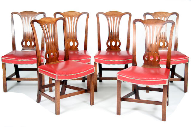 A set of six George III-style mahogany dining chairs, 19th Century