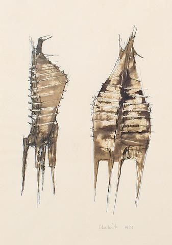 Lynn Chadwick (British, 1914-2003) Two figures unframed