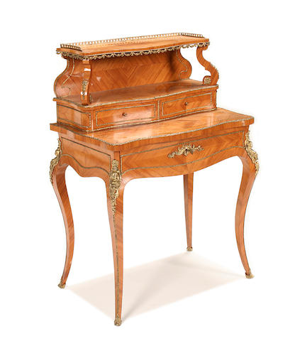 A French early 20th century kingwood and gilt metal mounted bonheur du jour