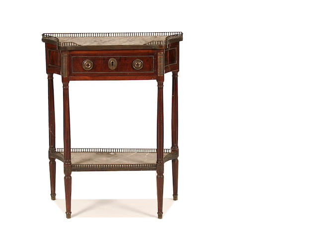 A Louis XVI brass-mounted mahogany side table
