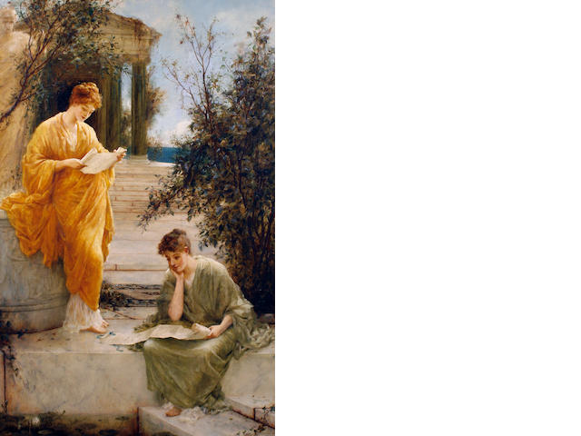 Henry Thomas Schafer, RBA (British, 1854-1915) Classical women reading by a temple