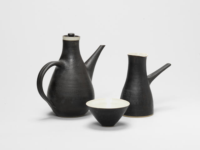 Dame Lucie Rie (Austrian/ British 1902-1995) A Three Piece Coffee Set, 1961