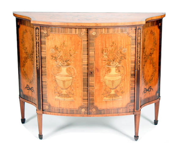 19th century marguetry inlaid commode attributed to Gillows