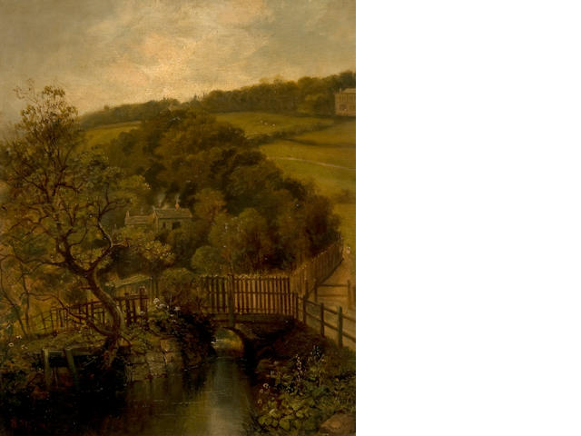 Walter Linsley Meegan (British, 1859-1944) Bridge over a stream before cottages in a wooded landscape