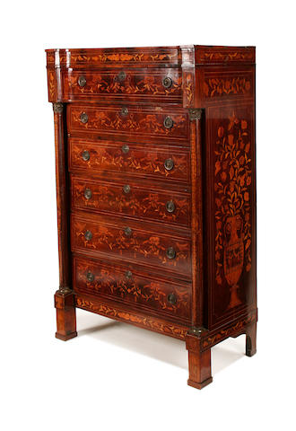 A Dutch 19th century mahogany and floral marquetry tall chest