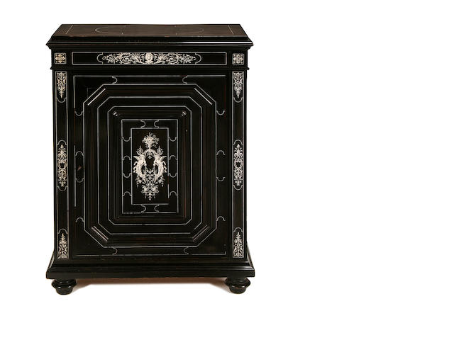 An Italian late 19th century ebonised and bone inlaid pier cabinet