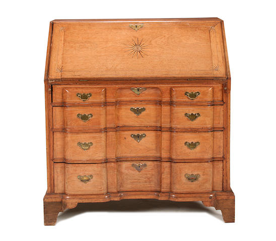 A Dutch late 18th century padouk and marquetry bureau
