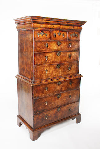 A George I elm chest on chest
