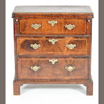 A small George I walnut and featherbanded batchelor's chest