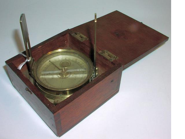 A Miller & Adie brass surveying compass,  Scottish,  early 19th century,