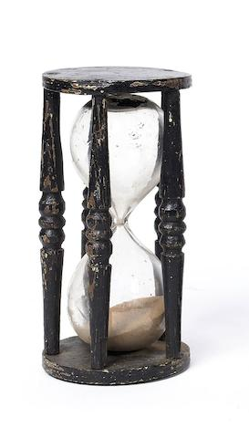 A painted wood sand-glass, European, 19th Century