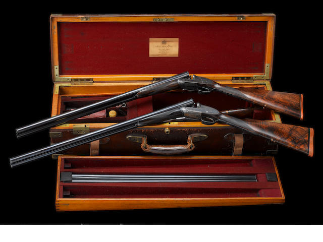 A fine trio of 12-bore single-trigger self-opening sidelock ejector guns by J. Purdey & Sons, no. 25551/2/3 In their two-tier brass-mounted oak and leather motor case