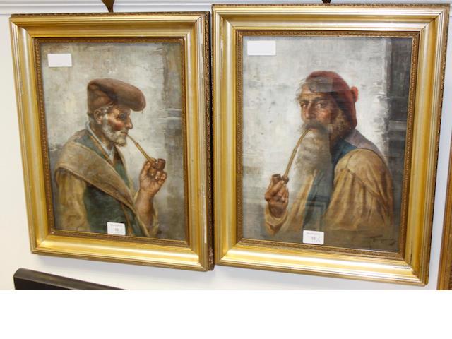 Raffaele Frigerio (Italian, 19th Century) Portrait of a bearded man with pipe; and companion