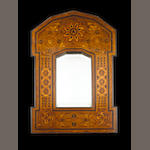 Russian mirror in eleborate wood marquetry frame