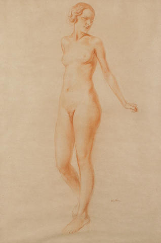 Sir Herbert James Gunn R.A (British, 1893-1964) Nude 60 x 40 cm. (23 3/4 x 15 3/4 in.)