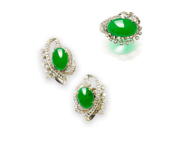 A jadeite and diamond ring and earring set (2)